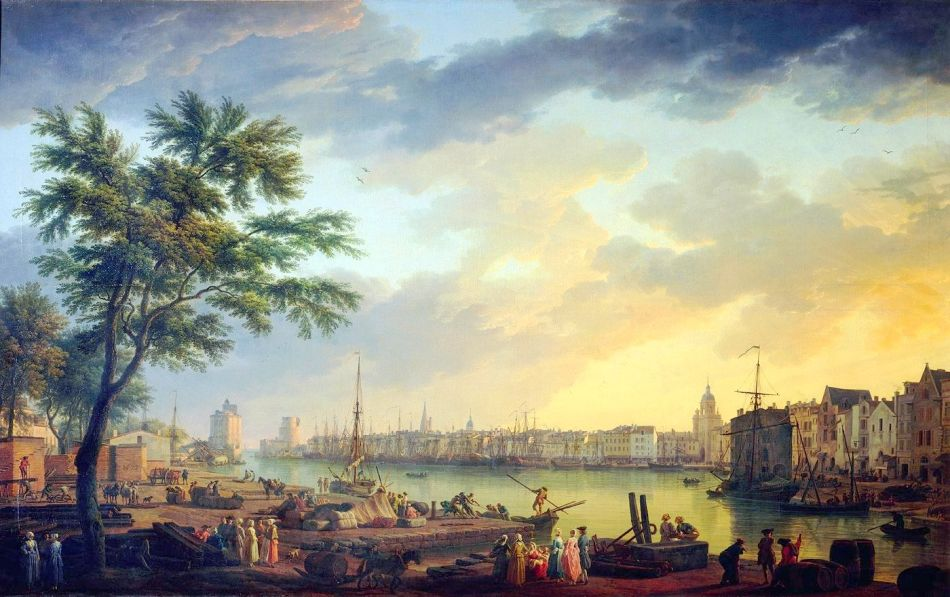 Claude-Joseph Vernet – Musée national de la Marine inv. 8305. Title: Vue du Port de La Rochelle, prise de la petite Rive. Date: 1762. Materials: oil on canvas. Dimensions: 165 x 263 cm. Nr.: inv. 8305. http://www.histoire-image.org/photo/zoom/port-la-rochelle-f.jpg. I have changed the light, contrast and colors of the original photo.