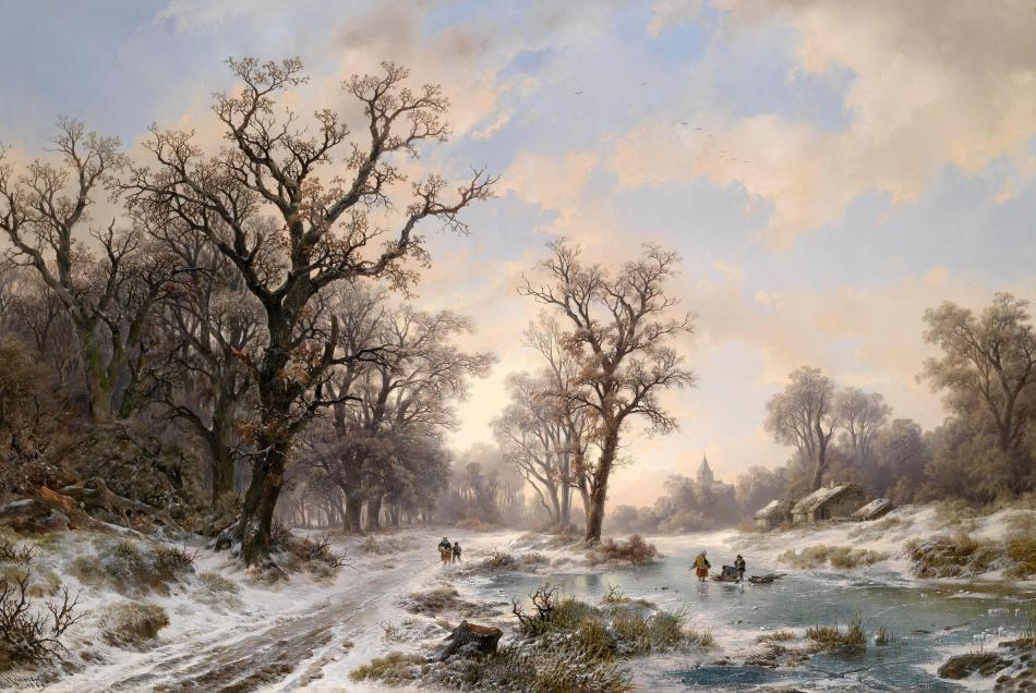 Remigius Adrianus van Haanen – private collection. Title: Landscape in Winter with Wood Collectors. Date: 1869. Materials: oil on canvas. Dimensions: 95 x 141 cm. Inscriptions: R. van Haanen f. 1869. Sold by Dorotheum in Vienna, on October 12, 2010. Source: https://kunsthistoriened2.files.wordpress.com/2013/09/remigius.jpg. I have changed the contrast of the original photo.