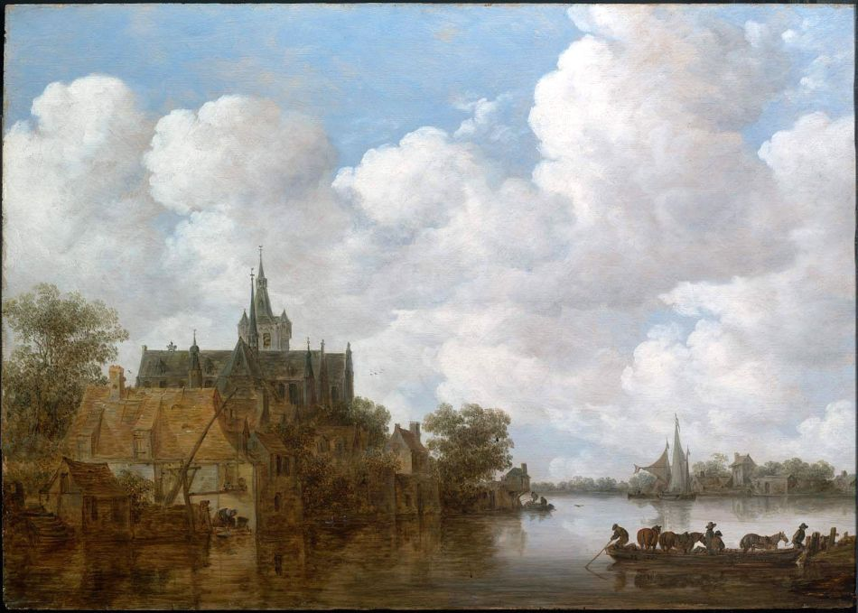 Jan van Goyen – The Museum of Fine Arts (Boston) 07.502. Title: River Landscape with a Ferry and a Church. Date: c. 1656. Materials: oil on panel. Dimensions: 47.3 x 66.7 cm. Inscriptions: VG/165[6?] (lower right, on side of boat). Nr.: 07.502. Source: http://www.mfa.org/collections/object/river-landscape-with-a-ferry-and-a-church-31318. I have changed the contrast of the original photo.