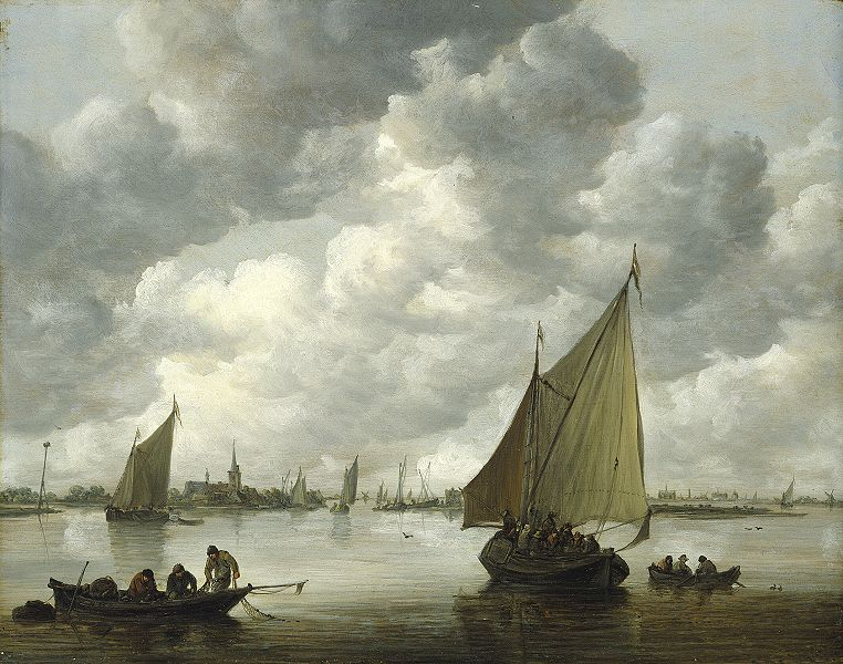 Jan van Goyen Hamburger Kunsthalle. Title: Fischerboote in einer Flußmündung. Date: 1655. Materials: oil on oak panel. Dimensions: 33 x 41.9 cm. Inscriptions: VG 1655. Source: http://www.hamburger-kunsthalle.de/archiv/bilder/segeln_goyen_gr.jpg