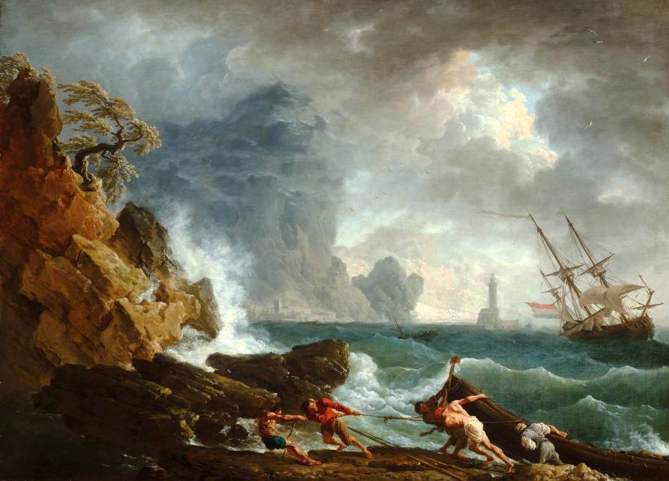 Claude Joseph Vernet – Mauritshuis 292. Title: An Italian Harbour in Stormy Weather. Date: c. 1740-1750. Materials: oil on canvas. Dimensions: 101 x 138 cm.  Nr.: 292. Source: https://www.mauritshuis.nl/en/explore/the-collection/artworks/an-italian-harbour-in-stormy-weather-292/#. I have changed the contrast of the original photo.