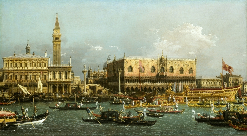 Canaletto – Dulwich Picture Gallery DPG599. Title: Bucintoro at the Molo on Ascension Day. Date: 1760. Materials: oil on canvas. Dimensions: 58.3 x 101.8 cm. Inscriptions: Io, Antonio Canal, detto il Canalletto, fecit – 1760 (verso). Acquisition date: 1915. Nr.:  DPG599. Source: http://www.alaintruong.com/archives/2015/05/01/31984053.html. I have changed the light and contrast of the original photo.