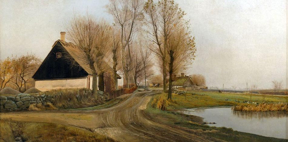 Laurits Andersen Ring – Aarhus Art Museum 117. Title: Village Street at Baldersbrønde. Date: 1905. Materials: oil on canvas. Dimensions: 79.3 x 155.1 cm. Inscriptions: L.A. Ring 1905. Acquisition date: 1906. Nr.: inv. nr. Maleri 177. Source: https://commons.wikimedia.org/wiki/File:Landsbygade_i_Baldersbr%C3%B8nde_(version_2).jpg. I have changed the contrast of the original photo.