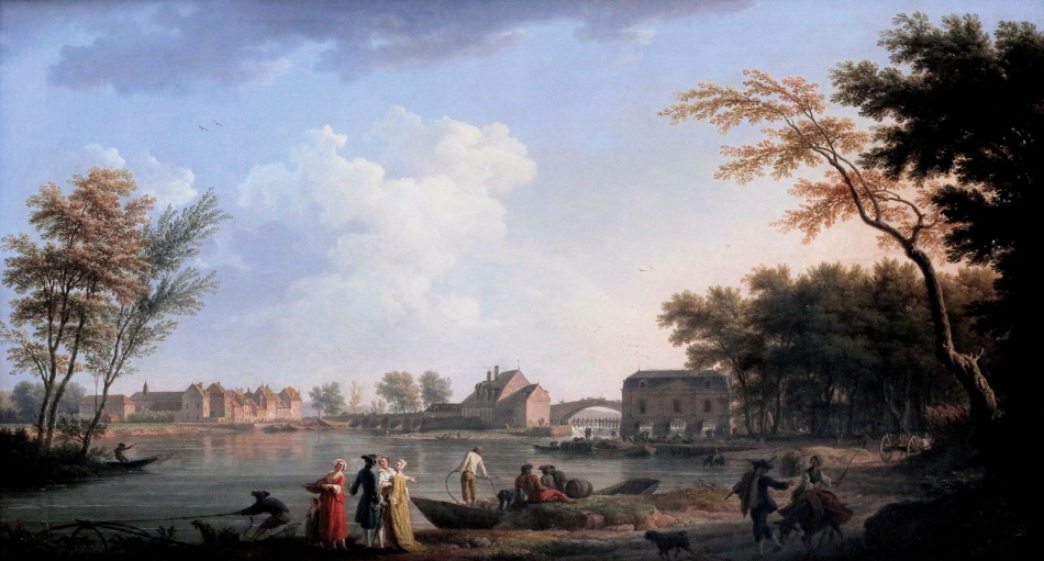 Claude-Joseph Vernet – Gemäldegalerie Berlin 2/75.2 . Title: Vue de Nogent-sur-Seine. Date: 1765. Materials: oil on oak panel. Dimensions: 76 x 135 cm. Nr. Inv. 2/75.2. Source: https://www.flickr.com/photos/mazanto/14707055709/in/photolist-opBYsx-opBvh2.