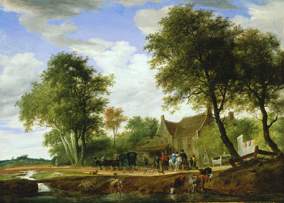 Salomon van Ruysdael – Musem of Fine Arts (Budapest) 268. Title: Travellers Before the Inn To the White Swan. Date: 1662. Materials: oil on canvas. Dimensions: 79 x 110.5 cm. Nr.: 268. Source: http://www.szepmuveszeti.hu/adatlap_eng/travellers_before_the_inn_to_10740#. I have changed the light, contrast and colors of the original photo.