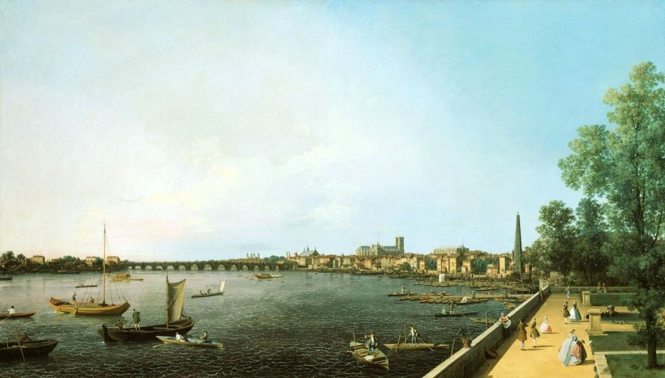 Canaletto – The Royal Collection RCIN 400506. Title: London: The Thames from Somerset House Terrace towards Westminster. Date: c. 1750-1751. Materials: oil on canvas. Dimensions: 107.6 x 187.9 cm. Nr.: RCIN 400506. Source: https://www.royalcollection.org.uk/collection/search#/21/collection/400506/london-the-thames-from-somerset-house-terrace-towards-westminster. I have changed the contrast of the original photo.