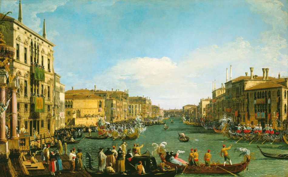 Canaletto – The Royal Collection RCIN 404416.  Title: Venice: A Regatta on the Grand Canal. Date: c. 1733-1734. Materials: oil on canvas. Dimensions: 77.1 x 125.7 cm.  Nr.: RCIN404416. Source: https://www.royalcollection.org.uk/collection/search#/28/collection/404416/venice-a-regatta-on-the-grand-canal.