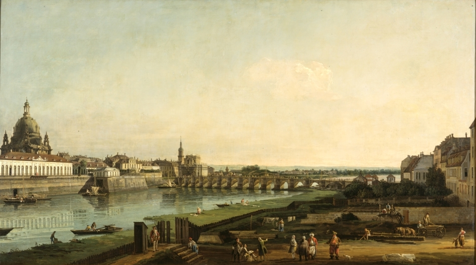 Bernardo Bellotto – Staatliche Kunstsammlungen Dresden Gal.-Nr. 602.  Title: Dresden vom rechten Elbufer oberhalb der Augustusbrücke. Date: 1747. Materials: oil on canvas. Dimensions: 132 x 236 cm.  Nr.: Gal.-Nr. 602. Source: https://kunstblik.files.wordpress.com/2015/02/4-bernardo-bellotto-dresden-vanaf-de-rechteroever-van-de-elbe.jpg. I have changed the light and contrast of the original photo.