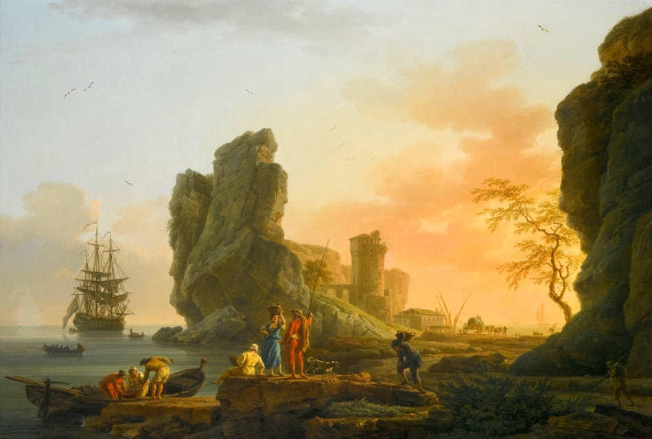 Claude-Joseph Vernet – private collection.  Title: A Mediterranean Coastal Scene	at Sunset with Figures Fishing in the Foreground. Date: 1765. Materials: oil on canvas. Dimensions: 78.1 x 115.9 cm. Inscriptions: J. Vernet f/1765 (lower centre); Vernet/1765 (lower right). Sold by Sotheby's in London, on December 3, 2014. Source: http://www.sothebys.com/content/dam/stb/lots/L14/L14036/4517M09_7M26M.jpg. I have changed the light and contrast of the original photo.