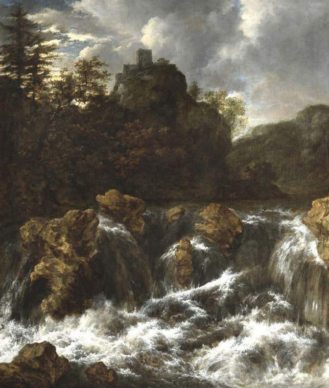 Jacob van Ruisdael – The Fitzwilliam Museum 63.  Title: Landscape with Waterfall. Date: c. 1660-1670. Materials: oil on canvas. Dimensions: 100 x 86.5 cm.  Inscriptions: v Ruisdael (the v and R forming a monogram; lower left). Nr.: 63. Source: http://www-img.fitzmuseum.cam.ac.uk/img/pdp/pdp3/63.jpg. I have changed the light and contrast of the original photo.