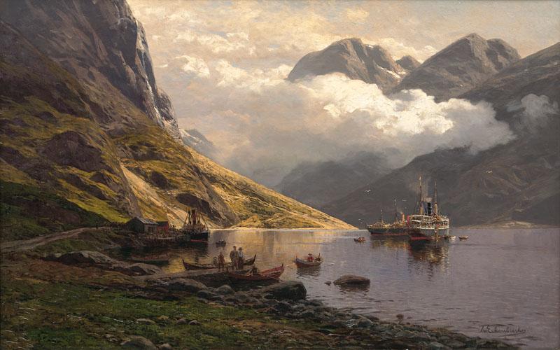 Themistokles von Eckenbrecher – private collection. Title: Packet Ships in a Fjord (Am Naeröfjord bei Gudvangen). Date: c. 1880-1910. Materials: oil on canvas. Dimensions: 78 x 118 cm. Inscriptions: T. v. Eckenbrecher (lower right); Am Naeröfjord bei Gudvangen (on the stretcher). Sourcehttps://www.auktionshaus-stahl.de/ressourcen/auktionen/313/76360-0.jpg.