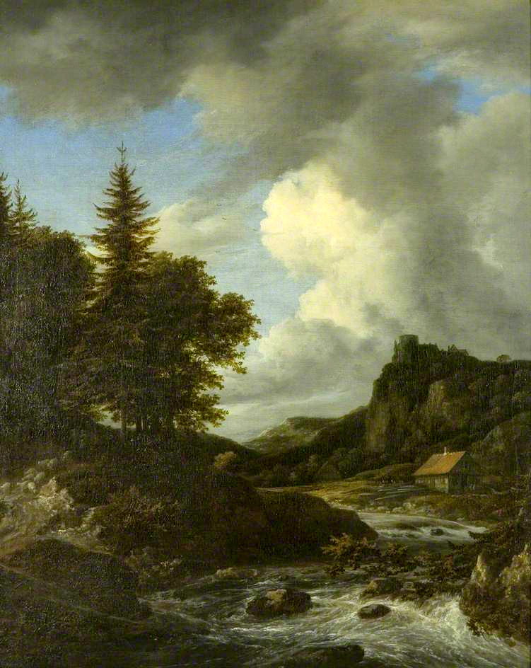 Jacob van Ruisdael – Bristol Museum & Art Gallery. Title: River in Spate. Date: c. 1660. Materials: oil on canvas. Dimensions: 66 x 54 cm. Source: http://www.bbc.co.uk/arts/yourpaintings/paintings/river-in-spate-189050. I have changed the light and contrast of the original photo