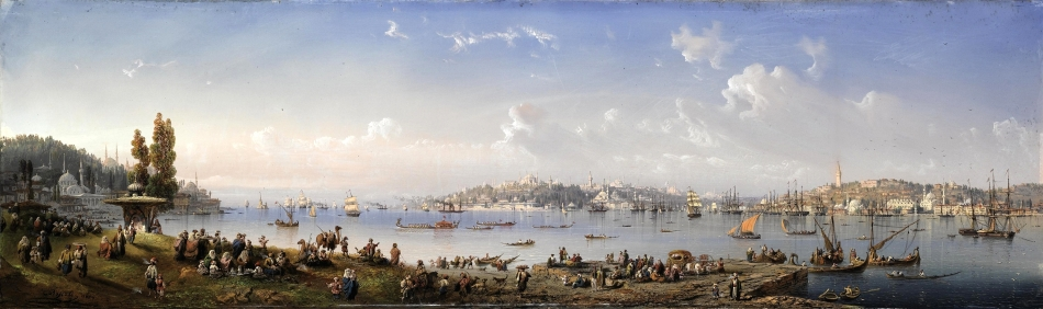 Carlo Bossoli – private collection. Title: A Panorama of Constantinople From Uskudar. Date: 1854. Materials: gouache on paper laid on canvas. Dimensions: 40 x 135 cm. Inscriptions: C. Bossoli 1854 (lower left). Sold by Christie's in London, on December 7, 2010. Source: http://www.christies.com/lotfinderimages/d53912/d5391279a.jpg. I have changed the contrast of the original photo.