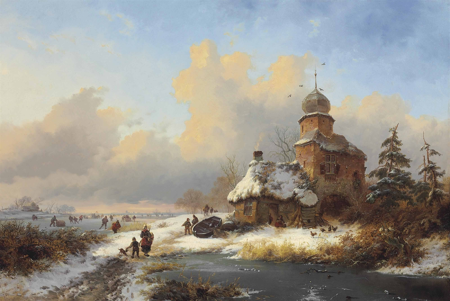 Frederik Marinus Kruseman – private collection.  Title: Winter Landscape with Ice Amusements on a Frozen River. Date: 1850. Materials: oil on panel. Dimensions: 41.2 x 59.6 cm.  Inscriptions: FMKruseman.fc/1850.' (lower left). Sold by Christie's in New York, on April 28, 2015. Source: http://www.christies.com/lotfinderimages/d58893/d5889381a.jpg.