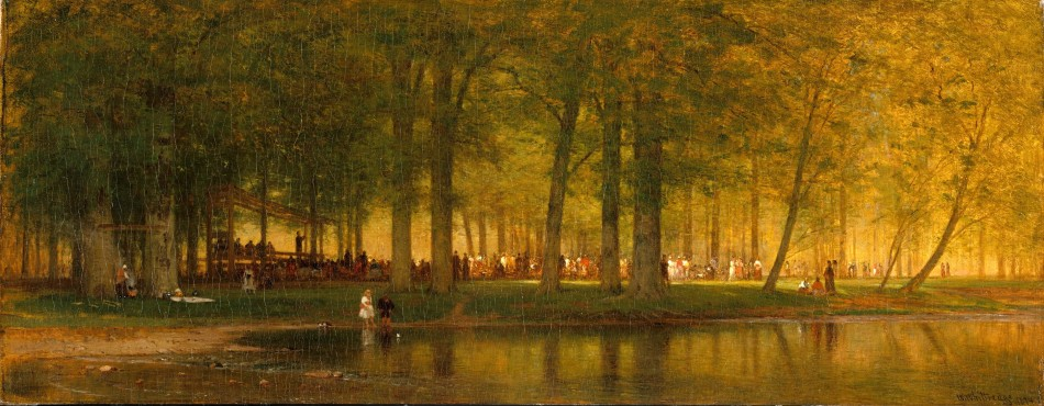 Thomas Worthington Whittredge – The Metropolitan Museum of Art 13.39.1. Title: The Camp Meeting. Date: 1874. Materials: oil on canvas. Dimensions: 40.6 x 103.3 cm. Inscriptions: W. Whittredge 1874 (lower right). Nr.: 13.39.1. Source http://images.metmuseum.org/CRDImages/ap/original/DT228976.jpg. I have changed the contrast of the original photo.