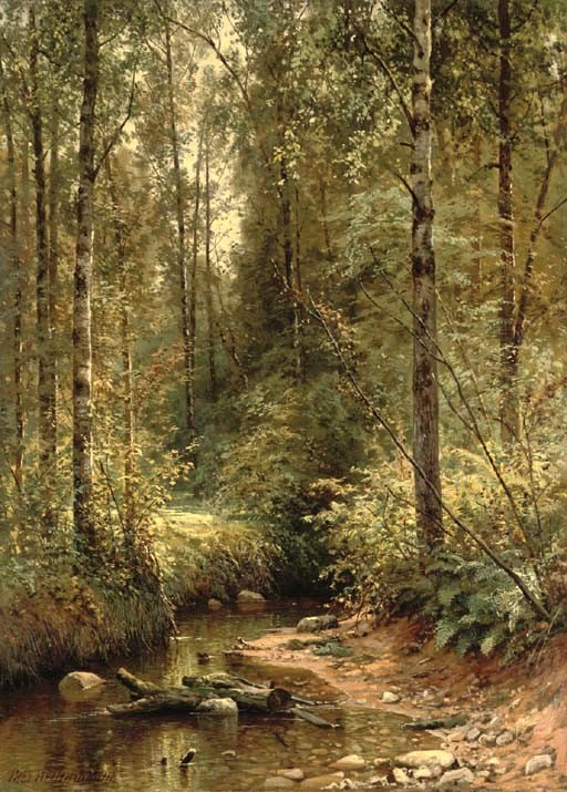 Ivan Shishkin – private collection. Title: A Forest Stream. Date: 1882. Materials: oil on canvas. Dimensions: 93.7 x 68.6 cm. Sold by Christie's in London, on November 30, 2005. Source: http://image.invaluable.com/housePhotos/christies/32/109932/H0027-L03314568.jpg. I have changed the contrast of the original photo.