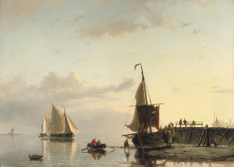 Johannnes Hermanus Barend Koekkoek – private collection. Title: A Jetty at Low Tide. Date: 1858. Materials: oil on panel. Dimensions: 43 x 59 cm. Inscriptions: JHB Koekkoek.58 (lower right). Sold by Christie's in Amsterdam, on November 18, 2008. Sourcehttps://commons.wikimedia.org/wiki/File:Johannes_Hermanus_Barend_Koekkoek_-_A_jetty_at_low_tide_(1858).jpg. I have changed the contrast of the original photo.