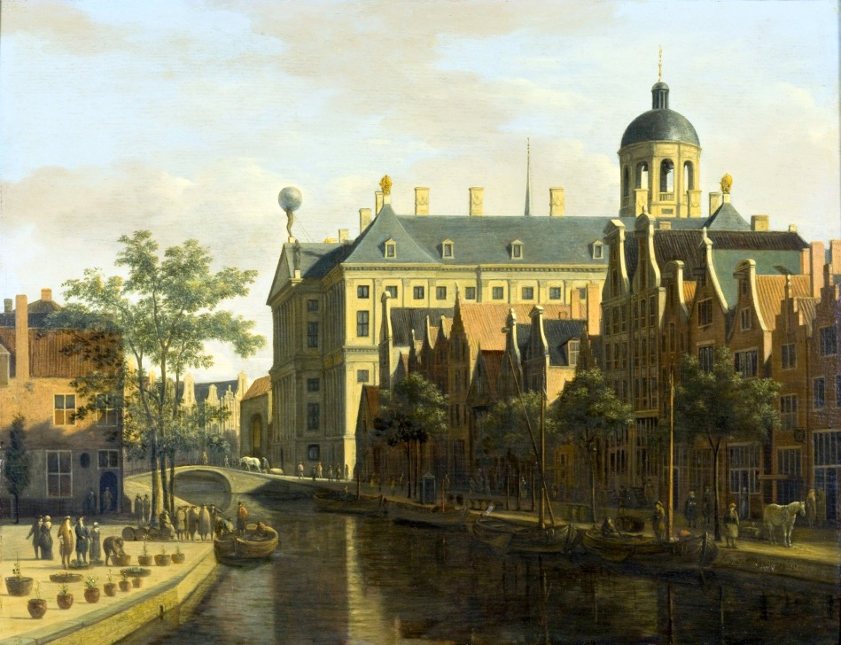 Gerrit Berckheyde – Los Angeles County Museum of Art M.2009.106.1. Title: The Nieuwezijds Voorburgwal with the Flower and Tree Market in Amsterdam. Date: c. 1675. Materials: oil on wood. Dimensions: 36.8 x 47.6 cm. Nr. M.2009.106.1. Source: http://collections.lacma.org/node/212148. I have changed the light, contrast and colors of the original photo.