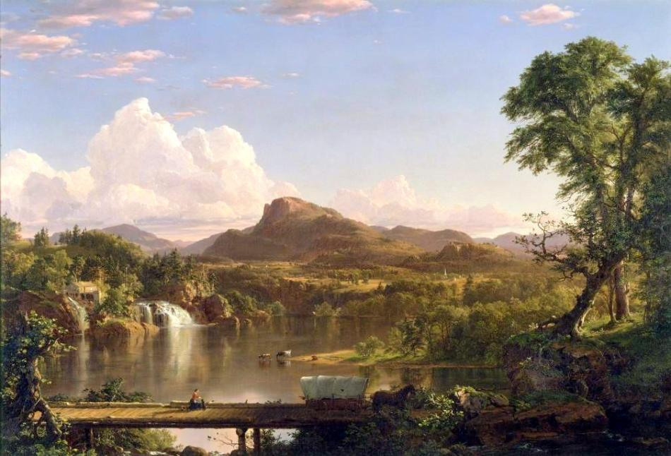 Frederic Edwin Church – The George Walter Vincent Smith Art Museum 1.23.24. Title: New England Scenery. Date: 1851. Materials: oil on canvas. Dimensions: 91.4 x 134.6 cm.  Nr.: 1.23.24. Source: https://springfieldmuseums.org/wp-content/uploads/2015/09/new-england-scenery-by-frederic-edwin-church-1010x687.jpg. I have flipped the original photo and changed its light, contrast and colors.
