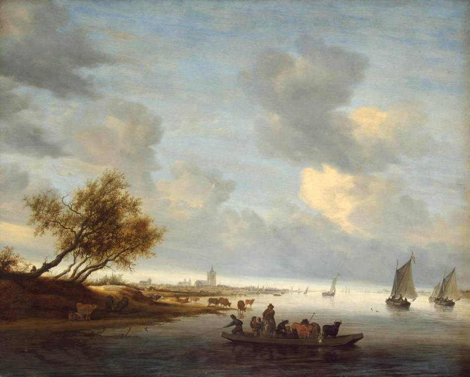 Salomon van Ruysdael – The Hermitage Museum ГЭ-3649.  Title: Ferry Boat near Arnheim. Date: 1651. Materials: oil on panel. Dimensions: 89 x 116 cm. Nr.:  ГЭ-3649. Source: https://upload.wikimedia.org/wikipedia/commons/d/dd/Salomon_van_Ruysdael_-_A_Ferry_Boat_near_Arnheim_-_WGA20576.jpg.