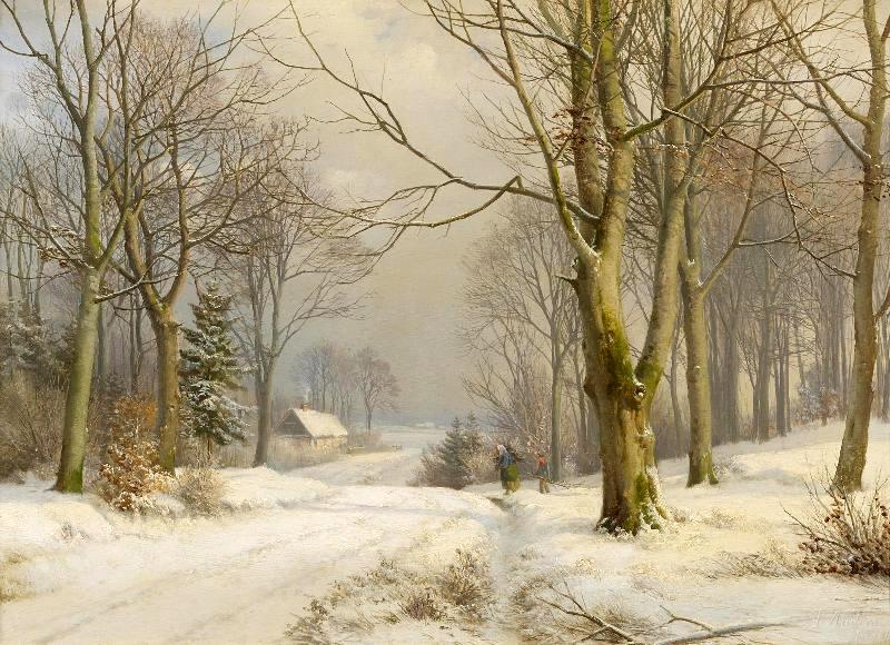 Anders Andersen Lundby – private collection. Title: Winterwald. Date: 1874. Materials: oil on canvas. Dimensions: 42.5 x 58.5 cm. Inscriptions A. Andersen / 1874 (lower right). Sold by Van Ham, on November 15, 2013. Source: http://www.van-ham.com/fileadmin/kuenstler/anders-andersen-lundby/winterwald.jpg. I have changed the contrast of the original photo.