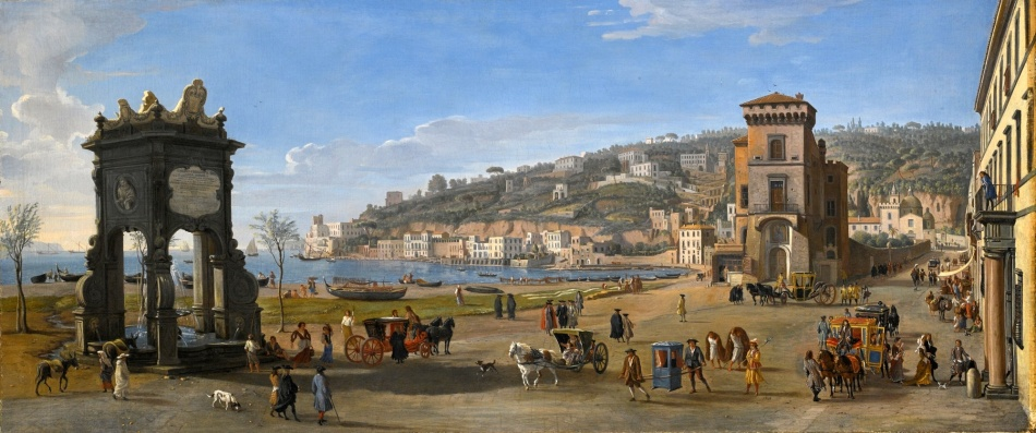 Caspar van Wittel – private collection.  Title: Naples. A View of the Riviera di Chiaia. Date: c. 1710-1722. Materials: oil on canvas. Dimensions: 75.7 x 174.8 cm. Will be auctioned by Sotheby's in New York, on January 28, 2016.  Source: http://www.sothebys.com/content/dam/stb/lots/N09/N09462/011N09462_8D9PQ.jpg. I have changed the contrast of the original photo.