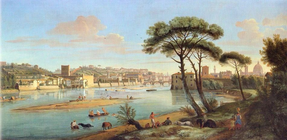 Caspar van Wittel – private collection.  Title: L'Arno alla Pescaia di ponte San Niccolò. Date: c. 1700. Materials: oil on canvas. Dimensions: 50 x 99 cm. Source: https://commons.wikimedia.org/wiki/File:View_of_Florence_and_Arno_river_(4).jpg. I have changed the light and contrast of the original photo.