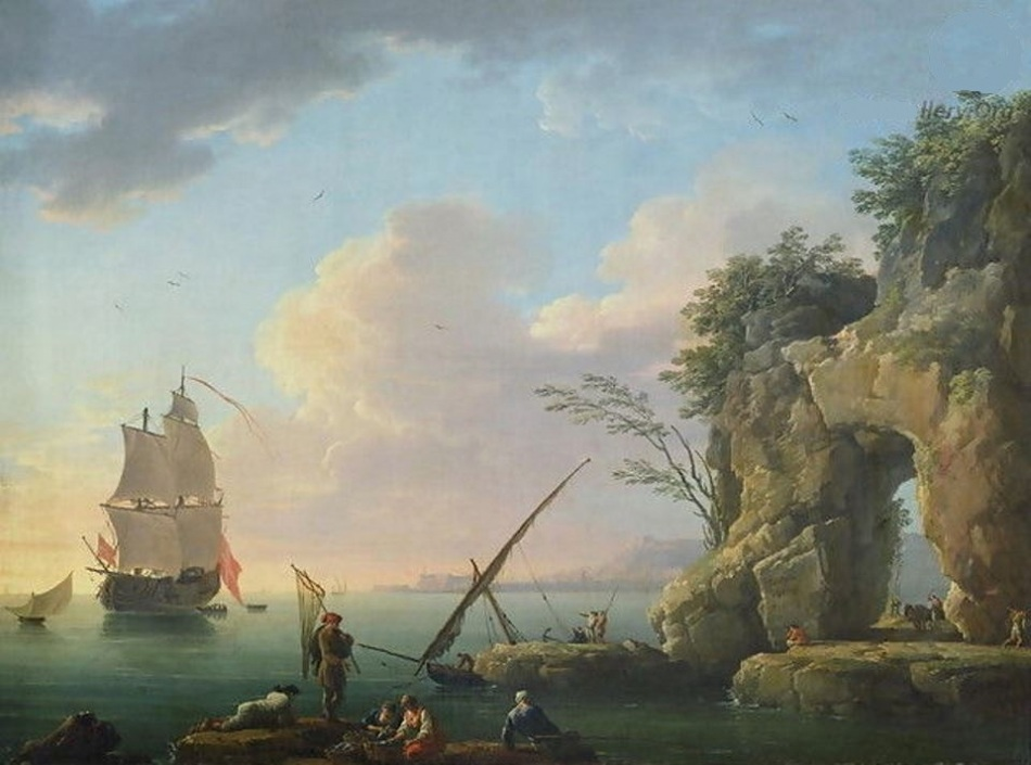 Claude Joseph Vernet –  Palais des Beaux-Arts de Lille 556.  Title: Marine, coucher du soleil. Date: 1748. Materials: oil on canvas. Dimensions: 48.8 x 64.6 cm. Nr.: 556, inv. P. 488. Source: http://www.thecinetourist.net/uploads/7/0/9/9/7099213/2472701_orig.jpg. I have changed the light of the original photo.