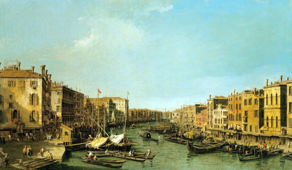 Canaletto – The Royal Collection RCIN 406890.  Title: Venice: the Grand Canal from the Rialto to the Palazzo Foscari. Date: c. 1725-1726. Materials: oil on canvas. Dimensions: 46.5 x 78.7 cm. Nr: RCIN 406890.  Source: https://www.royalcollection.org.uk/collection/search#/38/collection/406890/venice-the-grand-canal-from-the-rialto-to-the-palazzo-foscari. I have changed the light, contrast and colors of the original photo.