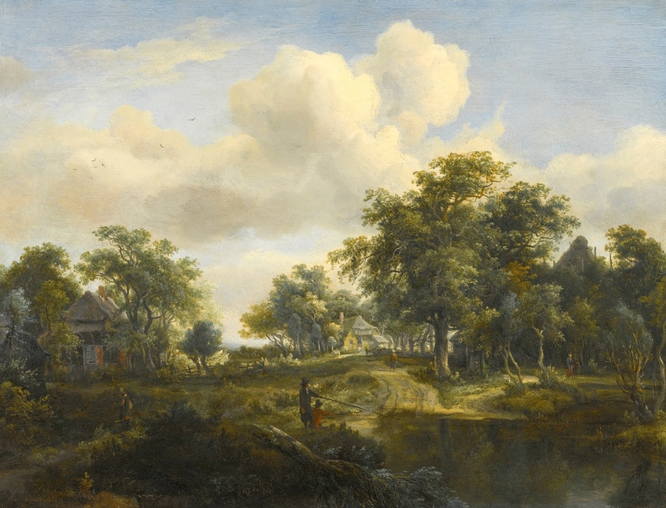 Meindert Hobbema – private collection.  Title: A Hamlet in a Woodland Glade of Oaks. Date: c. 1663 Materials: oil on oak panel. Dimensions: 37 x 48.5 cm. Inscriptions: m Hobbema (lower left). Auctioned by Sotheby's in London, on December 15, 2015. Source: http://www.sothebys.com/content/dam/stb/lots/L15/L15036/4727M09_7VMPF.jpg. I have changed the light and contrast of the original photo.