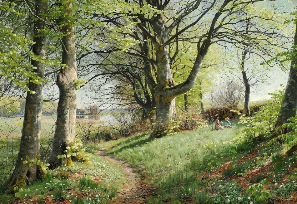 Peder Mørk Mønsted  – private collection.  Title: May Forest. Picking Anemones. Date: 1896. Materials: oil on canvas. Dimensions: 88.9 x 124 cm. Sold by Uno Langmann Limited.  Source: http://s50.radikal.ru/i127/1411/90/4883a382dff5.jpg.