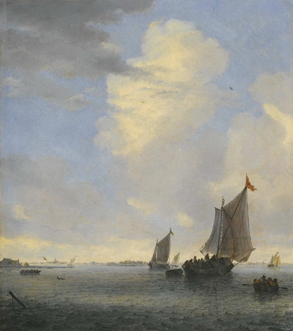 Salomon van Ruysdael – private collection.  Title: Wijdschip and Other Small Dutch Vessels at the Mouth of an Estuary. Date: c. 1650s. Materials: oil on canvas. Dimensions: 36.1 x 32.3 cm. Inscriptions: SVR (on the flag of the Wijdschip). Sold by Sotheby's in New York, on January 29, 2015. Source: http://www.sothebys.com/content/dam/stb/lots/N09/N09302/533N09302_5VWBM.jpg. I have changed the light of the original photo.