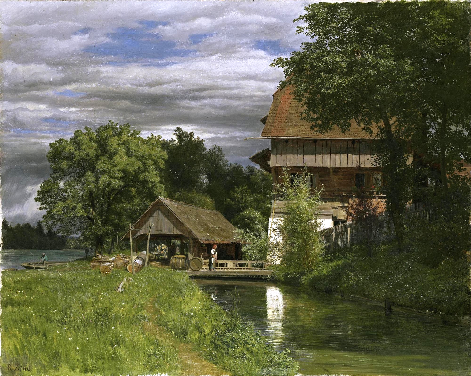Robert Zünd – private collection.  Title: Die Mühle von Rathausen. Date: c. 1850-1900. Materials: oil on canvas. Dimensions: 45.5 x 56.5 cm. Source: http://media.mutualart.com/Images/2009_07/25/0305/681705/5df57720-5e97-48e4-a9f5-b0df8b11eeb7_g.Jpeg. I have changed the contras of the original photo