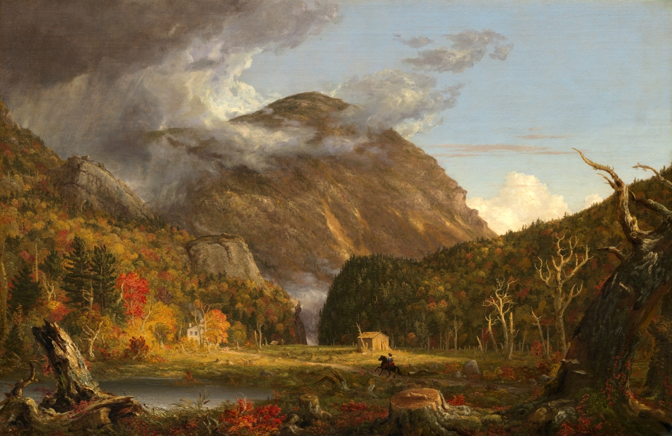 Thomas Cole  – The National Gallery of Art 1967.8.1.  Title: A View of the Mountain Pass Called the Notch of the White Mountains (Crawford Notch). Date: 1839. Materials: oil on canvas. Dimensions: 102 x 155.8 cm. Inscriptions: T. Cole. / 1839 (lower left). Nr.: 1967.8.1.  Source: http://www.nga.gov/content/ngaweb/Collection/art-object-page.50727.html. I have changed the contrast of the original photo.