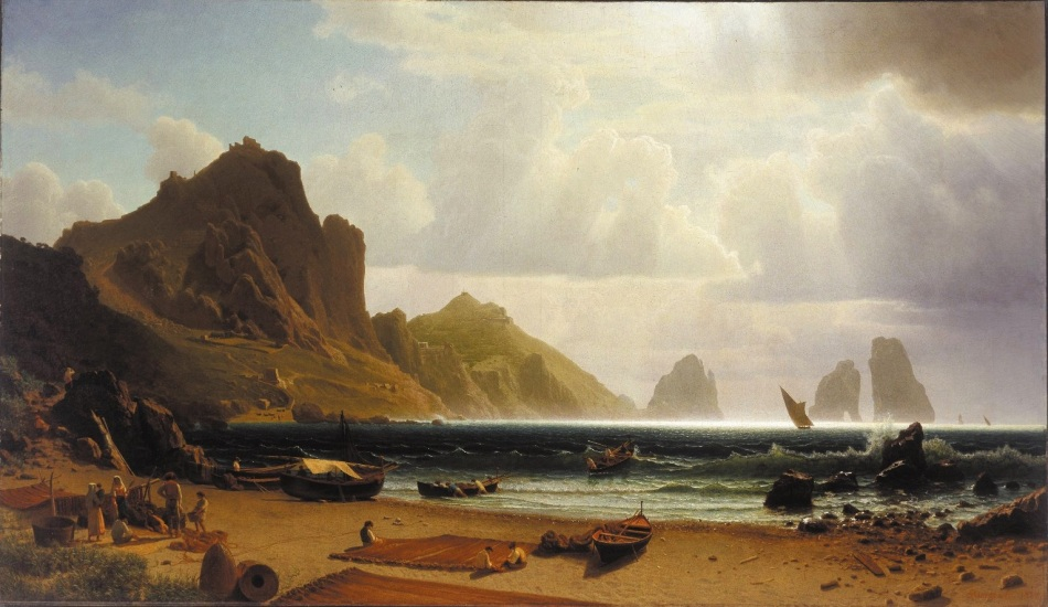 Albert Bierstadt – The Albright-Knox Art Gallery 1863:1 .  Title: The Marina Piccola, Capri, 1859. Date: 1859. Materials: oil on canvas. Dimensions: 141 x 217.2 cm. Inscriptions: ABierstadt, 1859 (lower right). Acquisition date: 1863( gift of Albert Bierstadt). Nr. 1863:1.  Source: https://commons.wikimedia.org/wiki/File:Albert_Bierstadt_-_The_Marina_Piccola,_Capri.jpg.