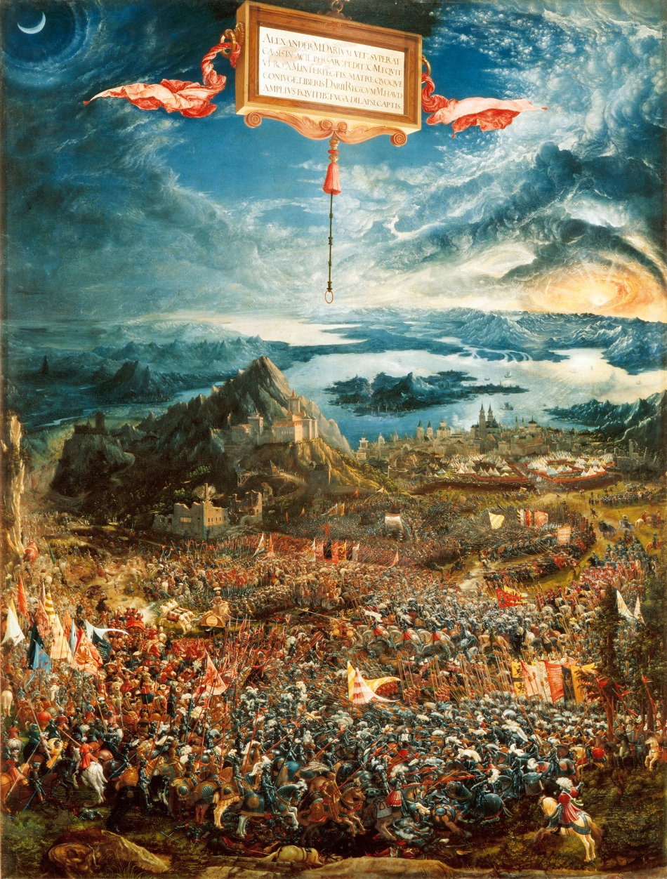 Albrecht Altdorfer – Alte Pinakothek 688.  Title: The Battle of Issus. Date: 1529. Materials: oil on wood. Dimensions: 158.4 x 120.3 cm. Inscriptions: AA / 1529 / ALBRECHT ALTORFER ZU REGENSPVRG FECIT (bottom left). Nr.: inv. 688.  Source: https://commons.wikimedia.org/wiki/File:Albrecht_Altdorfer,_The_Battle_of_Alexander_at_Issus.jpg. I have changed the contrast of the original photo.