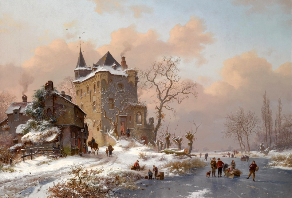 Frederik Marinus Kruseman  – private collection.  Title: Skaters Near a Castle on a Wintry Day. Date: 1880. Materials: oil on canvas. Dimensions: 56 x 80.5 cm. Sold by Sotheby's in Amsterdam, on April 14, 2008.  Source: http://www.sothebys.com/content/dam/stb/lots/AM1/AM1049/AM1049-203-lr-1.jpgI have changed the contrast of the original photo.