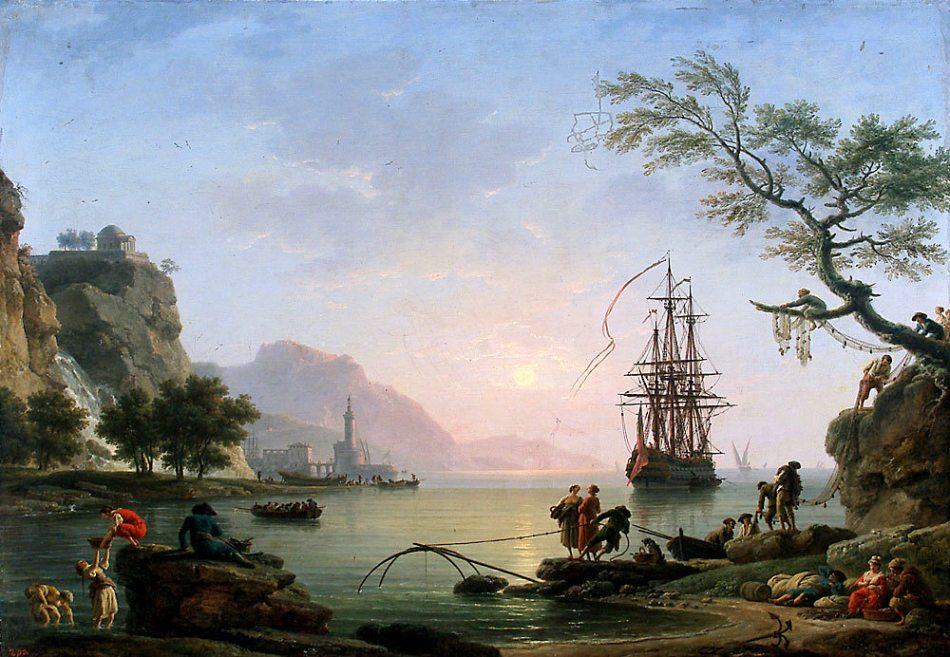 Claude Joseph Vernet – National Museum in Warsaw M.Ob.2569 (120890).  Title: View of a Port in the Morning. Date: 1774. Materials: oil on canvas. Dimensions: 116 x 168 cm. Nr. M.Ob.2569 (120890). Source: http://wydarzenia.o.pl/wp-content/i/2009/03/claude-joseph-vernet-poranek.jpg. I have changed the contrast of the original photo.