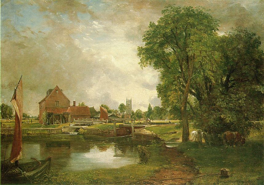 John Constable – Currier Museum of Art 1949.8 .  Title: Dedham Lock and Mill. Date: 1820. Materials: oil on canvas. Dimensions: 54.6 x 77.5 cm. Nr.: 1949.8. Source: http://www.artchive.com/artchive/c/constable/constable_lock_and_mill.jpg