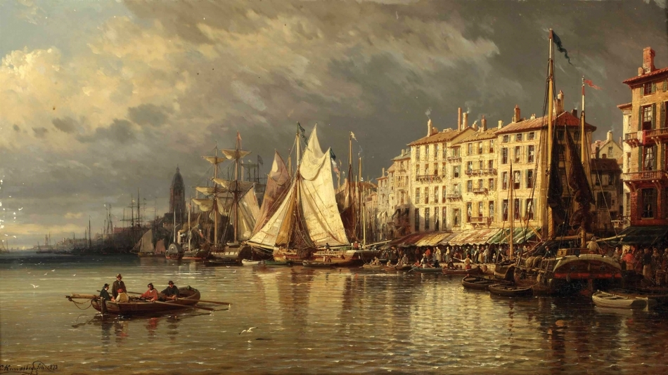 Charles Euphrasie Kuwasseg – private collection.  Title: A View of a Mediterranean Harbour. Date: 1873. Materials: oil on canvas. Dimensions: 56.2 x 100.3 cm. Inscriptions: C. Kuwasseg. fils. 1873 (lower left)  . Source: http://www.christies.com/lotfinderimages/d56758/d5675875a.jpg. I have changed the contrast of the original photo.