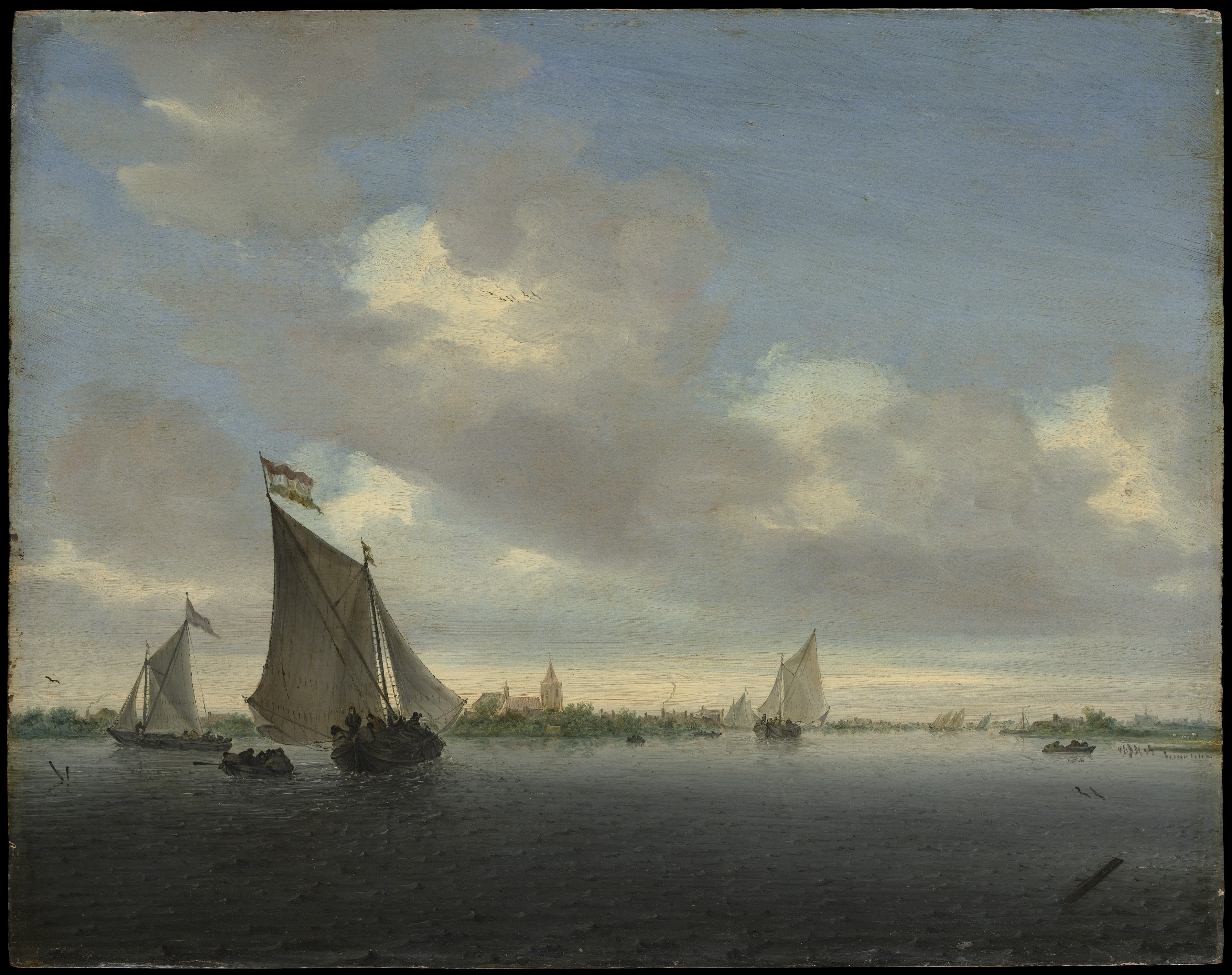 Salomon van Ruysdael  – The Metropolitan Museum of Art 71.98.  Title: Marine. Date: 1650. Materials: oil on wood. Dimensions: 34.6 x 43.5 cm. Inscriptions: SvR [vR in monogram]·1650 (lower right, on plank). Acquisition date: 1871. Nr.: 71.98.  Source: http://images.metmuseum.org/CRDImages/ep/original/DP145942.jpg. I have changed the contrast of the original photo.
