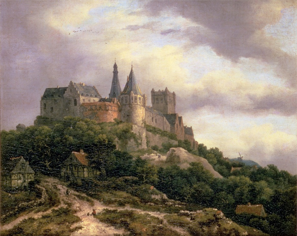 Jacob van Ruisdael  – The Guildhall Art Gallery.  Title: The Castle of Bentheim, Lower Saxony, Germany. Date: c. 1653-1656. Materials: oil on canvas. Dimensions: 39 x 46 cm. Source: https://upload.wikimedia.org/wikipedia/commons/c/c6/Jacob_van_Ruisdael_-_The_Castle_of_Bentheim.jpg. I have changed the light, contrast and colors of the original photo.