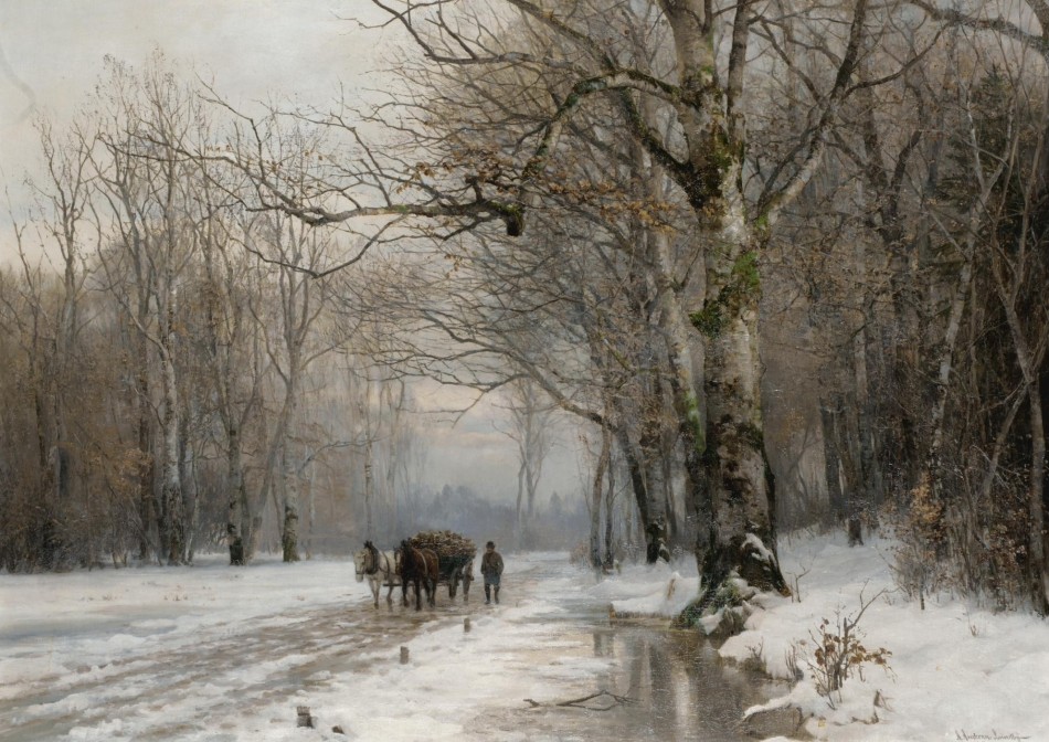 Anders Andersen Lundby – private collection.  Title: Winter Landscape with a Horse-Drawn Cart. Date: 1887. Materials: oil on canvas. Dimensions: 74 x 102 cm. Inscriptions: A. Andersen Lundby / Munchen 1887 (lower right). Sold by Sotheby's in London, on October 3, 2007.  Source: http://www.sothebys.com/content/dam/stb/lots/L07/L07704/L07704-224-lr-1.jpg.