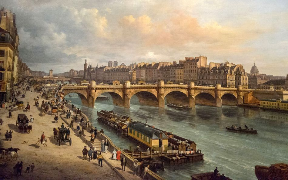 Giuseppe Canella – Musée Carnavalet P.1911.  Title: Le Pont-Neuf et la Cité Paris. Date: 1832. Materials: oil on canvas. Dimensions: unknown. Nr.: P.1911. Source: https://commons.wikimedia.org/wiki/File:Le_Pont-Neuf_et_la_Cit%C3%A9_Paris_1832,_Giuseppe_Canella,_Mus%C3%A9e_Carnavalet_-_Flickr.jpg. I have changed the contrast of the original photo.