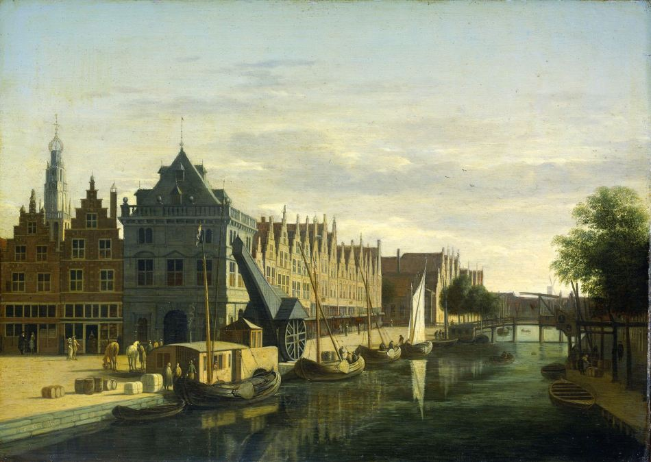 Gerrit Berckheyde – Rijksmuseum SK-A-35.  Title: De Waag (Weighing House) and Crane on the Spaarne, Haarlem. Date: c. 1660-1698. Materials: oil on panel. Dimensions: 35 x 45.5 cm. Inscriptions: G Berck Heyd. Nr.: SK-A-35. Long-term lo to the Frans Hals Museum. Source: https://www.rijksmuseum.nl/en/collection/SK-A-35. I have changed the light and contrast of the original photo.