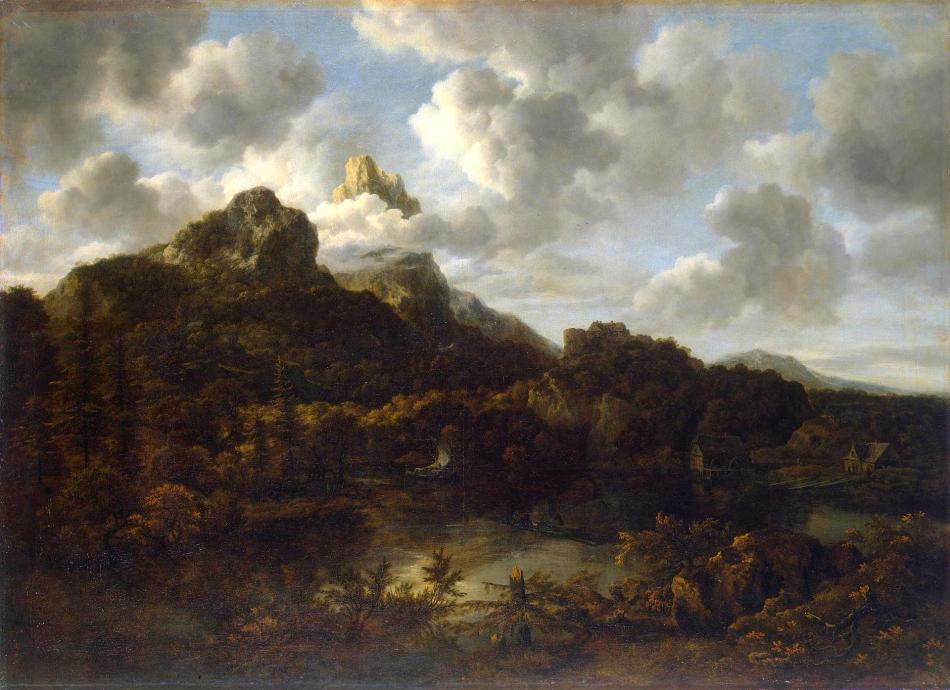 Jacob van Ruisdael – The Hermitage Museum ГЭ-932.  TitleMountainous Landscape. Date: 1670s. Materials: oil on canvas. Dimensions: 99.5 x 137 cm. Nr.: ГЭ-932: Source: http://www.hermitagemuseum.org/wps/portal/hermitage/digital-collection/01.+Paintings/44421/?lng=en. I have changed the light of the original photo.