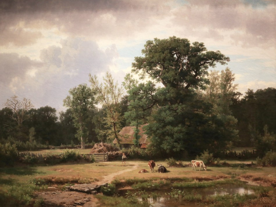 Thomas Worthington Whittredge – The Cincinatti Art Museum.  Title: Landscape in Westphalia. Date: 1853. Materials: oil on canvas. Dimensions: ? Nr.: ? Source: https://www.flickr.com/photos/19451274@N03/14334259699/sizes/l. I have changed the light, contrast and colors of the original photo.
