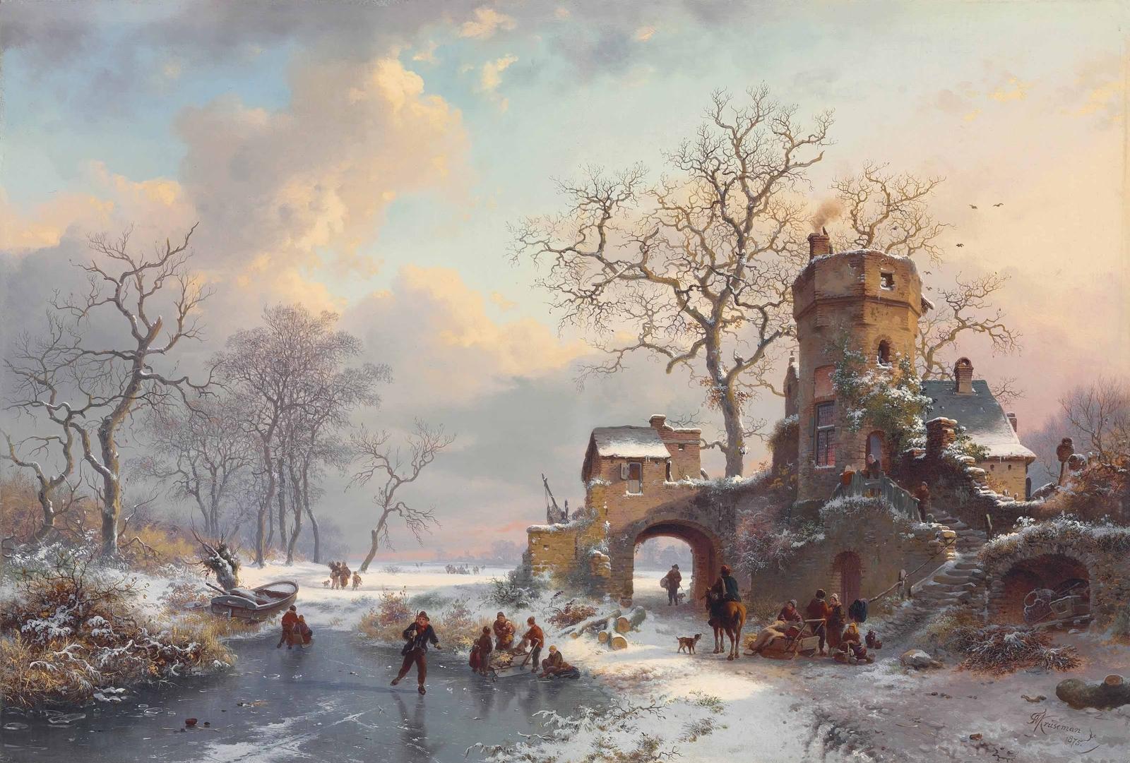 Frederik Marinus Kruseman – private collection.  Title: Winter Landscape with Figures on the Ice. Date: 1875. Materials: oil on canvas. Dimensions: 45.6 x 70.5 cm. Source: http://4.bp.blogspot.com/-dKsWT9cIR7A/VoM2fUJkjLI/AAAAAAAA3gI/LCJPAUVpok8/s1600/1875_%25D0%2597%25D0%25B8%25D0%25BC%25D0%25BD%25D0%25B8%25D0%25B9%2B%25D0%25BF%25D0%25B5%25D0%25B9%25D0%25B7%25D0%25B0%25D0%25B6%2B%25D1%2581%2B%25D1%2584%25D0%25B8%25D0%25B3%25D1%2583%25D1%2580%25D0%25B0%25D0%25BC%25D0%25B8%2B%25D0%25BD%25D0%25B0%2B%25D0%25BB%25D1%258C%25D0%25B4%25D1%2583%2B%2528Winter%2Blandscape%2Bwith%2Bfigures%2Bon%2Bthe%2Bice%2529_45.6%2B%25D1%2585%2B70.5_%25D1%2585.%252C%25D0%25BC._%25D0%25A7%25D0%25B0%25D1%2581%25D1%2582%25D0%25BD%25D0%25BE%25D0%25B5%2B%25D1%2581%25D0%25BE%25D0%25B1%25D1%2580%25D0%25B0%25D0%25BD%25D0%25B8%25D0%25B5.jpg.