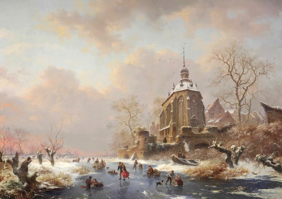 Frederik Marinus Kruseman – private collection.  Title: Winterfun on the Ice Near a Castle. Date: 1879. Materials: oil on canvas. Dimensions: 50 x 70 cm. Source: http://vechnost7.blogspot.ro/2015/12/frederik-marinus-kruseman-1816-1882.html. I have changed the light of the original photo