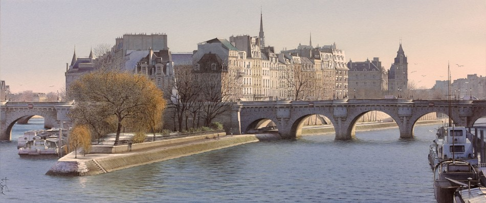 Thierry Duval – collection of the artist.  Title: A la pointe du square du Vert Galant/At the Tip of the Square du Vert Galant. Date: 2016. Materials: watercolor on paper. Dimensions: 36 x 86 cm. Source: http://www.aquarl.free.fr/images/20160207153528_alapointedusquareduvertgalant86x36.jpg